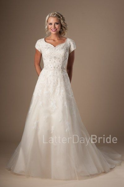 lds bridal gowns in slc, Utah, the Cressida with beading and lace at ...