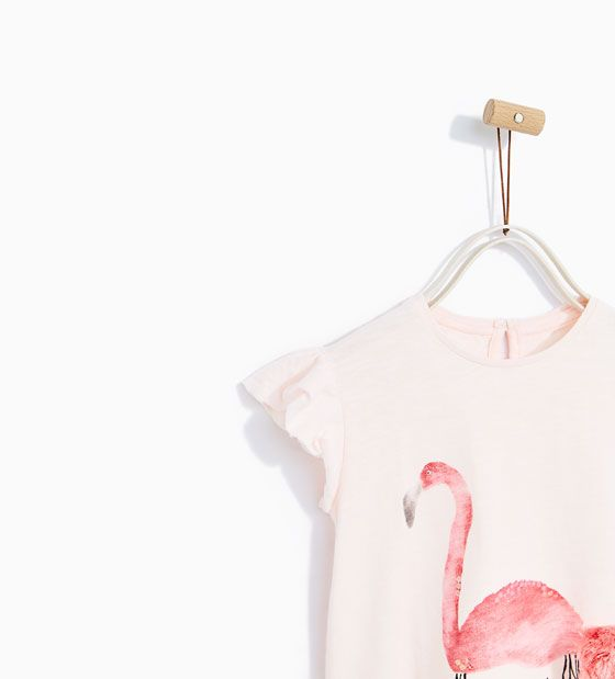 7cbed9d8 Image 2 of FLAMINGO PRINT T-SHIRT WITH POMPOM from Zara | Baby ...