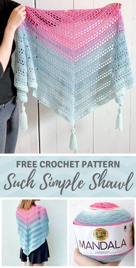 Mandala yarn scarf pattern - Such Simple Shawl by Wilmade (FREE) #crochetscarves