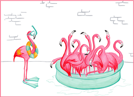 flamingo pool time illustration illustration de flamants roses la piscine par am lie legault. Black Bedroom Furniture Sets. Home Design Ideas