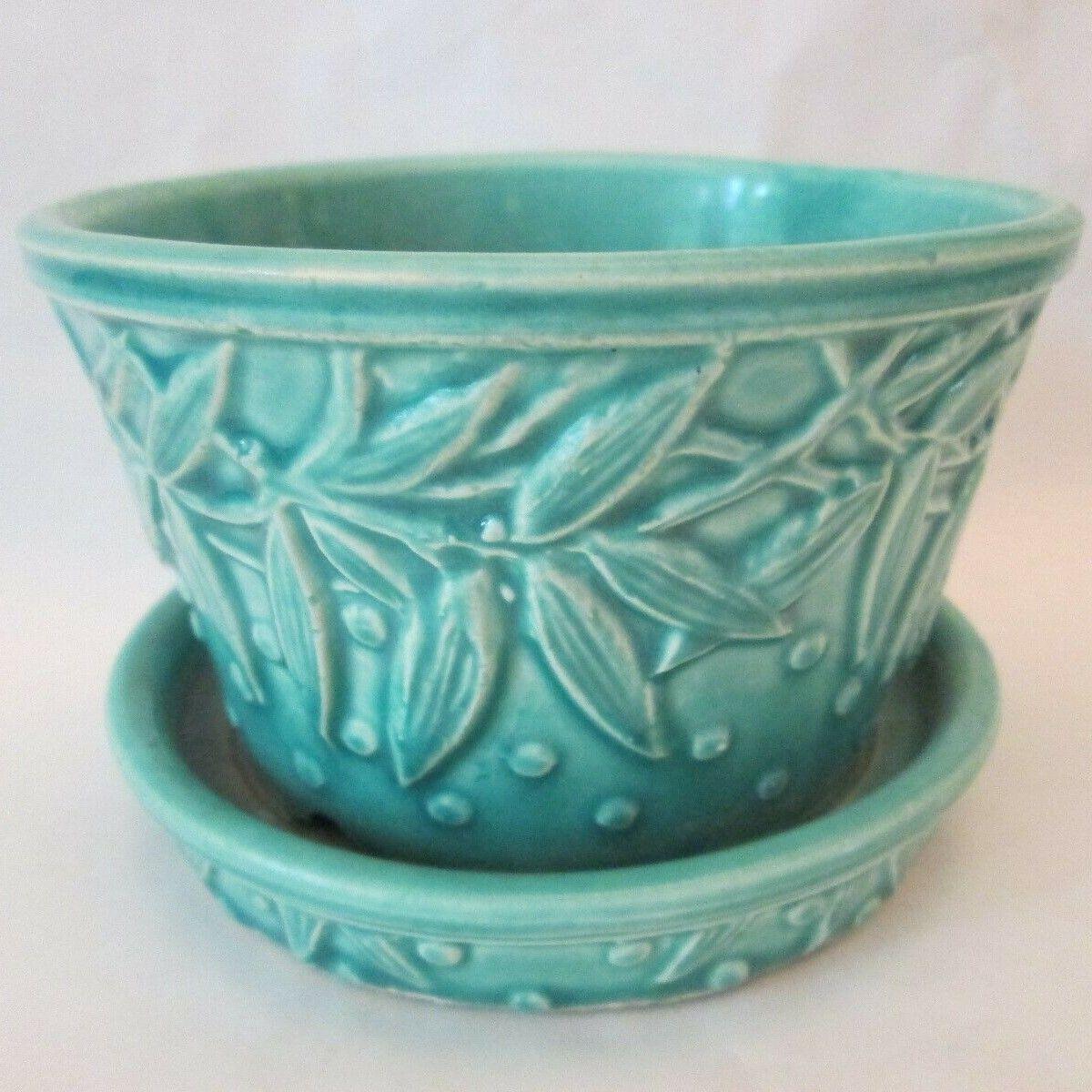 Violet Flower Pot W Saucer Vintage Mccoy Art Pottery Turquoise Hobnail Leaf Ebay Mccoy Flowerpots Planters Ebay Turq In 2020 Flower Pots Pottery Art Pottery