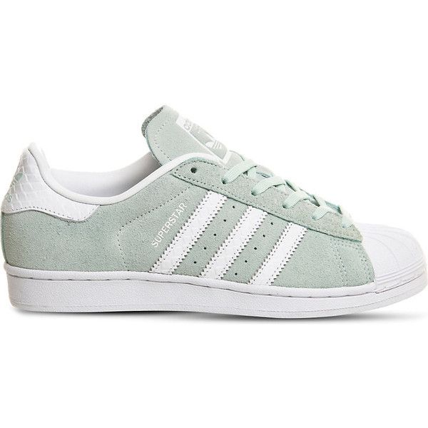 new concept 9fb84 76868 Adidas Superstar 1 suede trainers (1,750 MXN) ❤ liked on Polyvore featuring  shoes, sneakers, suede cap, white trainers, mint green sneakers, adidas ...