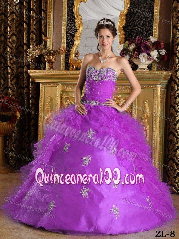 487c2d8cfa0 Beading Appliques Lilac Quinceanera Dress with Organza Ruffle ...