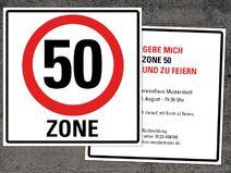 einladung zum 50. geburtstag: verkehrsschild   einladungen, Einladungskarten
