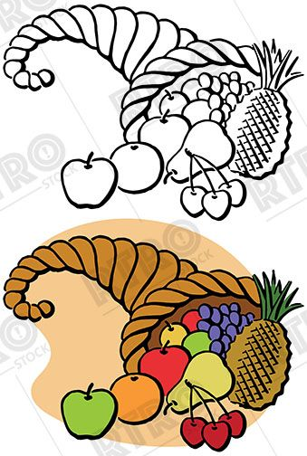 a vintage illustration of a cornucopia full of thanksgiving bounty rh pinterest com cornucopia clipart transparent cornucopia clipart png