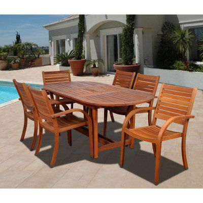 Outdoor Amazonia Kentucky 7 Piece Oval Eucalyptus Patio Dining Set ...