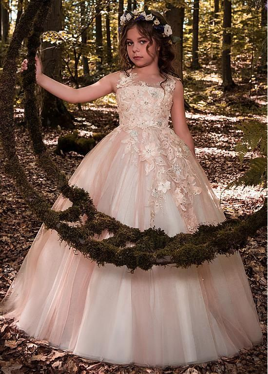 #Dressilyme - #Dressilyme Dressilyme Glamorous Tulle Scoop Neckline Floor-length Ball Gown Flower Girl Dresses With Lace Appliques & 3D Flowers & Beadings - AdoreWe.com