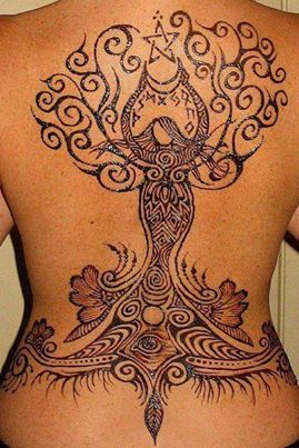 Mother Goddess Tree Of Life Crescent Moon Pentacle Henna Mehndi