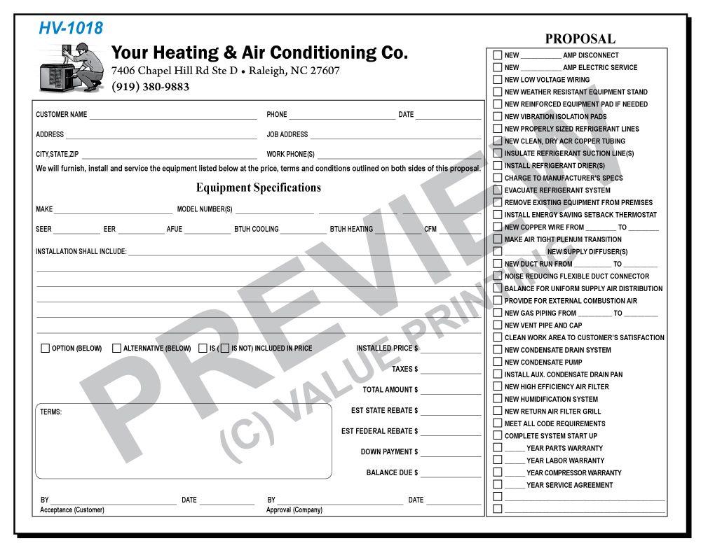 Hv1018 hvac equipment proposal agreement with backside