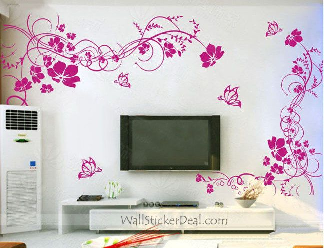 2 Sets Beautiful Flower With Butterfly Wall Stickers Home Decorating Photo