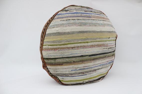 Striped Kilim Pouf,Camping Puff,24x24x6 Pear Seat,Beige Pouf,Circle Pouf,Floor Pillow Cover,Garden P