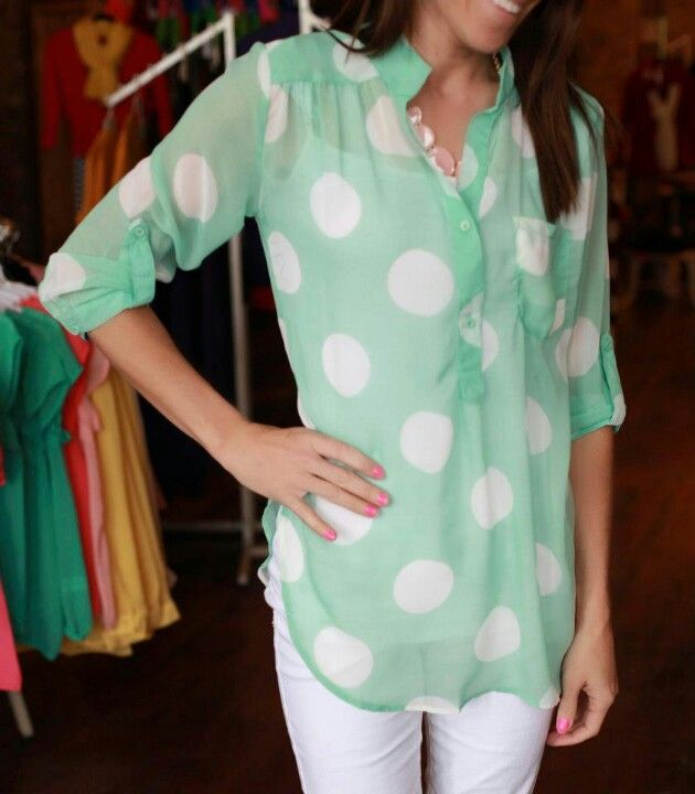 Love this mint color and the extra large polka dots. These lightweight blouses are my go-to for looking nice in the warmer months.