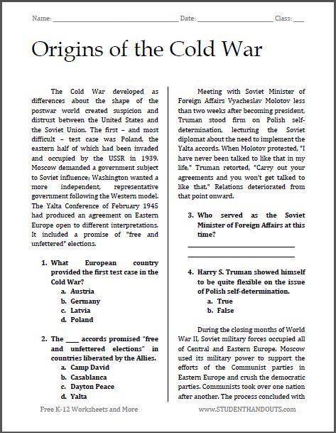 Origins Of The Cold War Free Printable Reading With Questions
