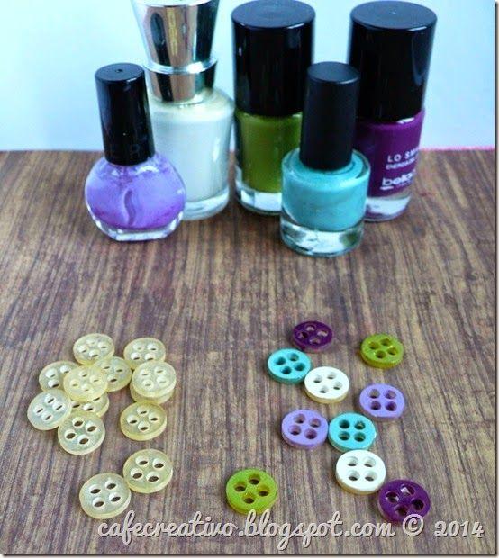 DIY button, nail polish by cafe creativo; tutorial bottoni fai da te