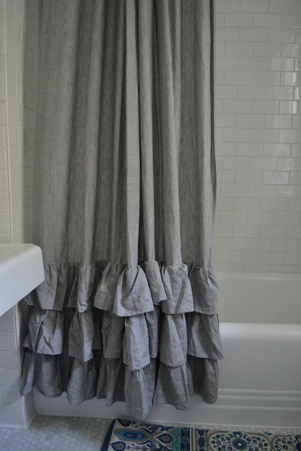 pottery barn gray ruffle shower curtain