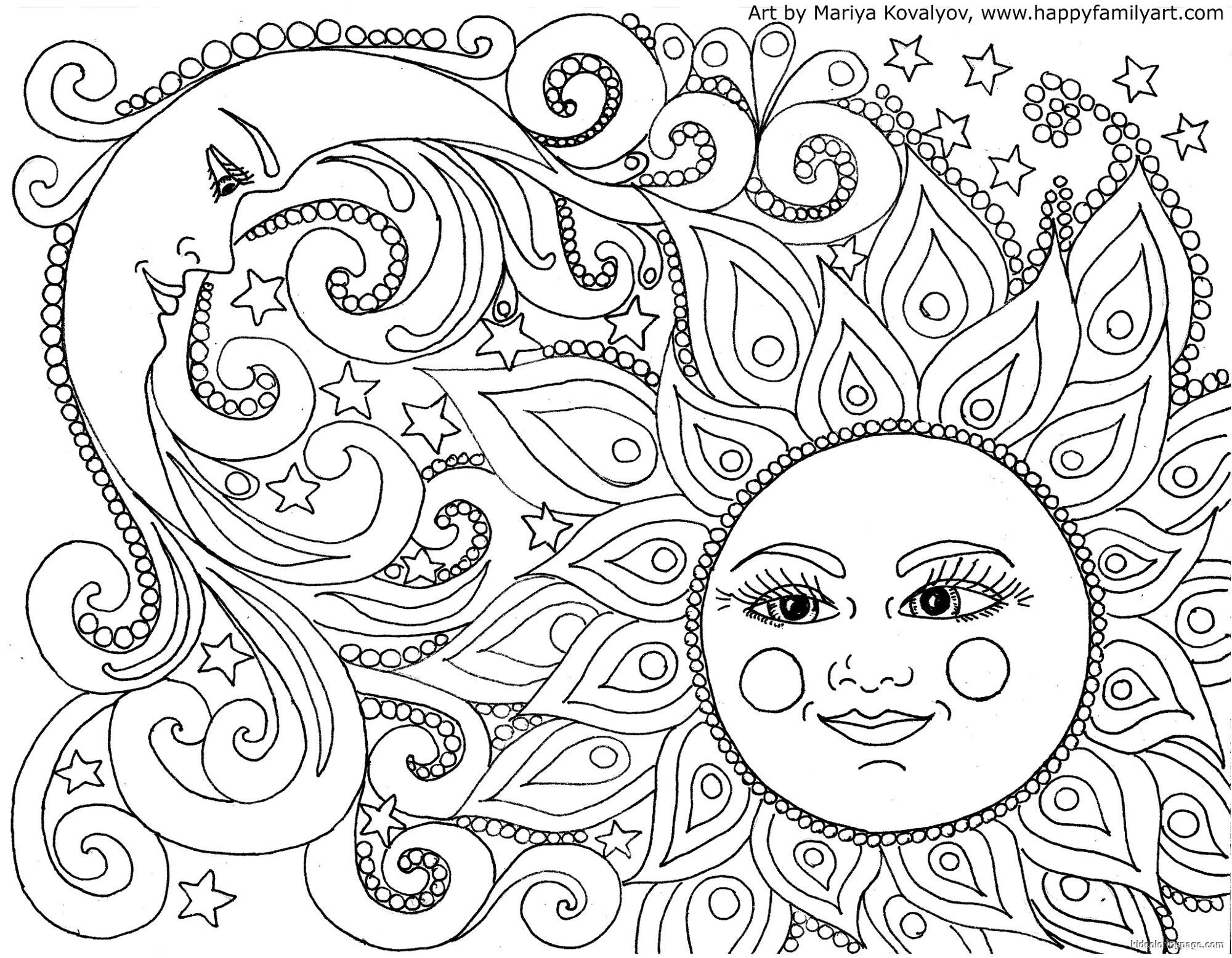 Colouring sheets of the lunar eclipse - Coloring Pages Sun And Moon