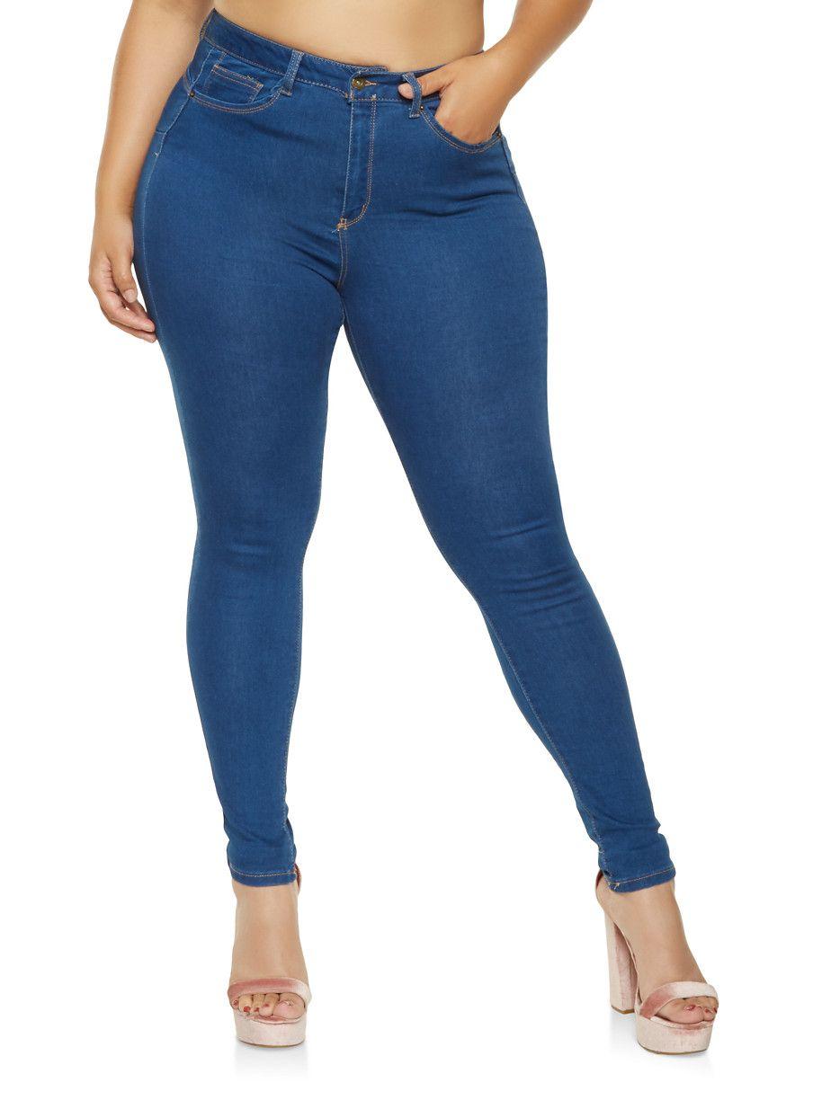 b22840ce0b0 Plus Size WAX Push Up Skinny Jeans - Blue - Size 14
