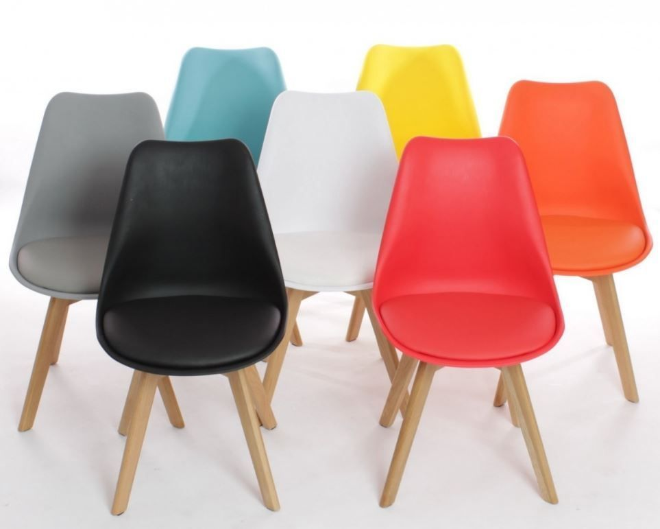 Mmilo Tulip Dining Office Chair with Solid Wood Legs