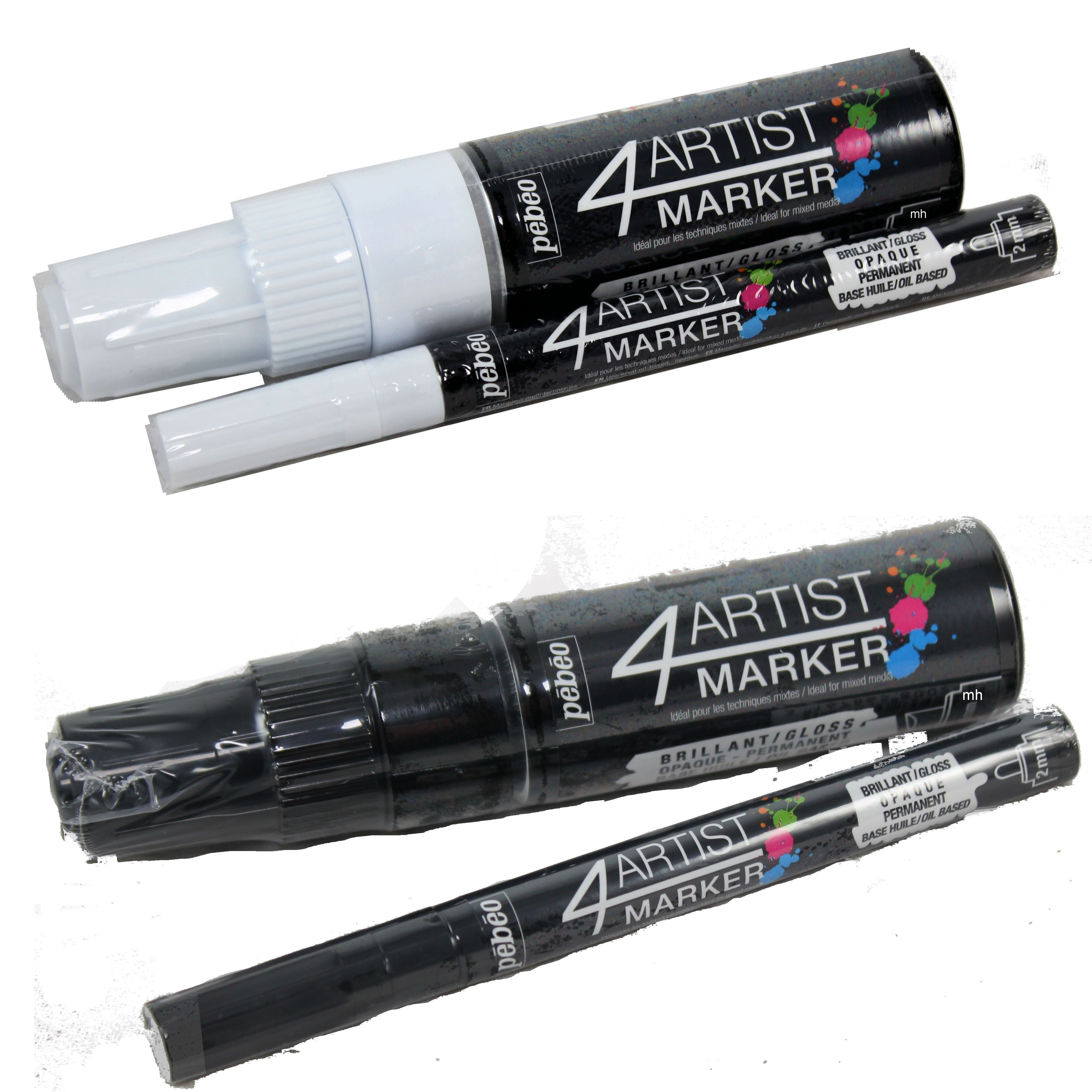 Pebeo 4Artist Marker Oil Based Paint Pens Duo Twin Sets Chisel /& Round
