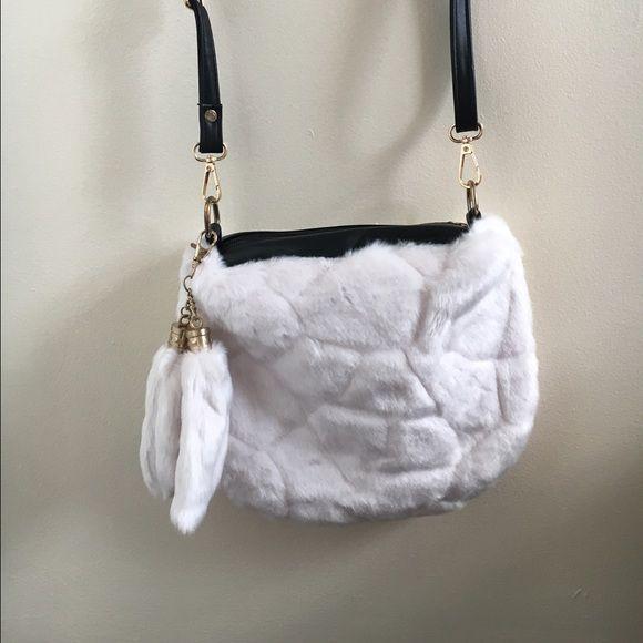 f12ceb94d6 Iridescent White Faux Fur Handbag Extremely Soft Iridescent White Faux Fur  Handbag. This bag can