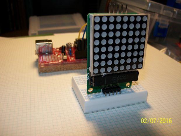 V-USB ATtiny85 Project Board and an 8x8 Red LED Matrix