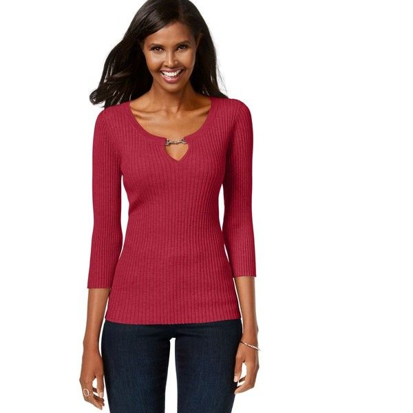 Inc International Concepts Petite Ribbed Keyhole Sweater (€36 ...