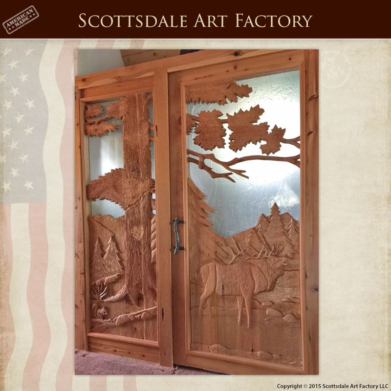 Custom door hand carved for log cabin home entrance for Custom solid wood doors