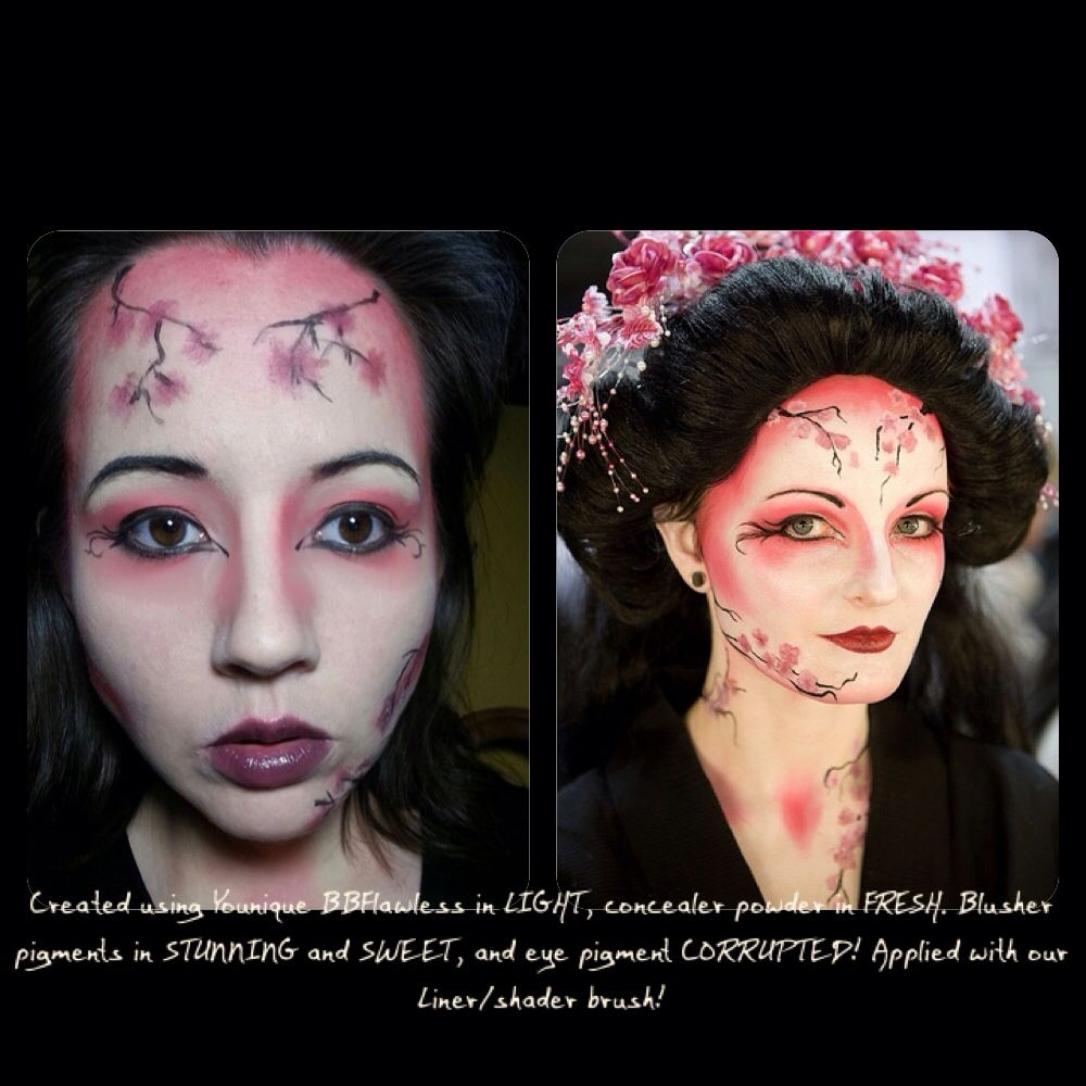 My friend Rachel created this Cherry Blossom Halloween makeup look using all YOUNIQUE pigments! Colors are posted on the photo! Awesome!