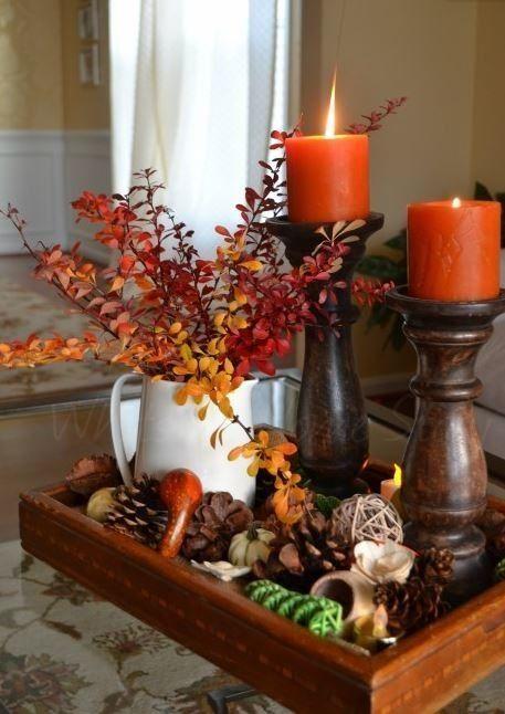 Imagen velas naranjas del art culo centros de for Decoracion de mesa para accion de gracias
