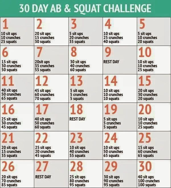 30 day Ab & Squat Challenge - Hello Gorgeous, by Angela Lanter