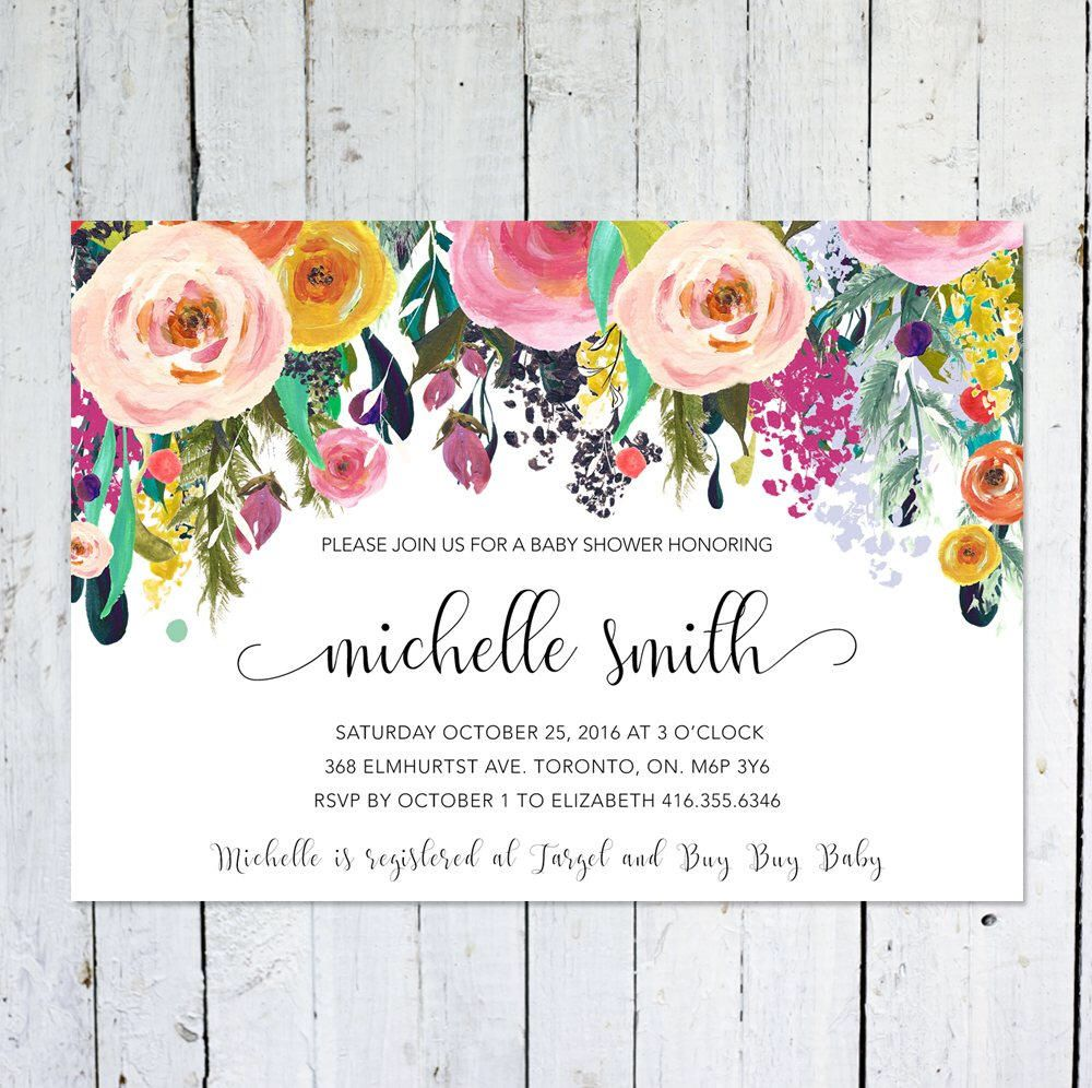 Baby shower invitation girl floral baby shower invitation colorful baby shower invitation girl floral baby shower invitation colorful watercolor flowers printed printable by vocatio on etsy filmwisefo