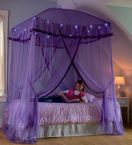 Lighted Bed Canopy Sparkling Lights Bower Kids Girls Princess Children Bedroom Bed For Girls Room Girls Bed Canopy Fairy Bedroom