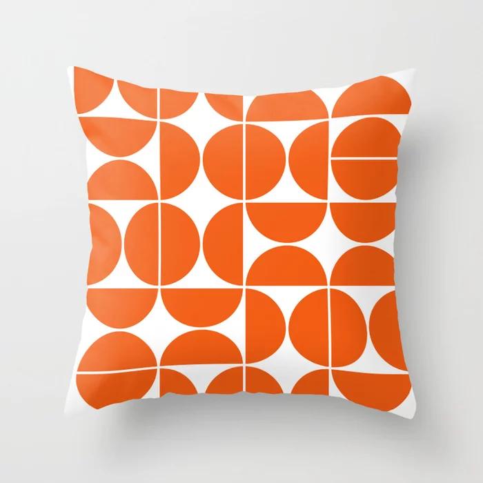 Mid Century Modern Geometric 04 Orange Throw Pillow In 2020 Orange Throw Pillows Midcentury Throw Pillows Throw Pillows