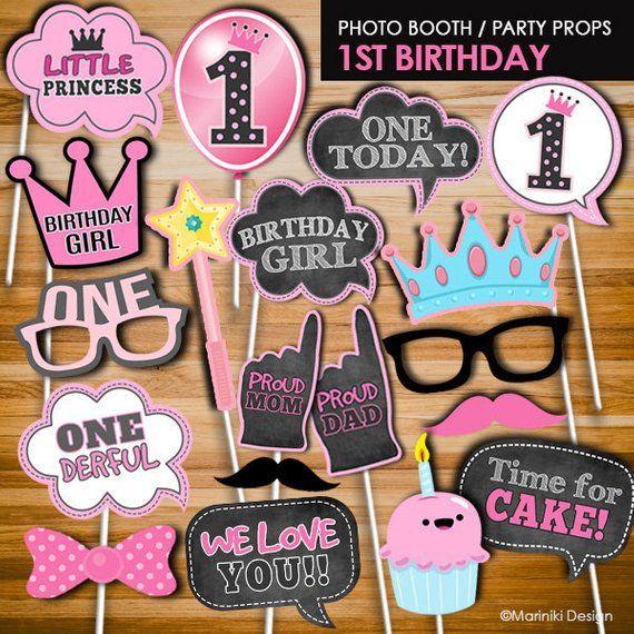 Birthday Boy Blam 3 By Nailesi: Girl 1st Birthday Photo Booth Props, Little Princess Photo
