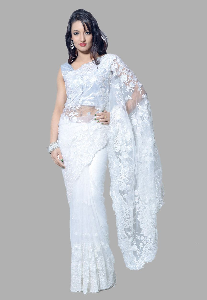 fc3f889cefb16a Buy White Net Saree with Blouse online