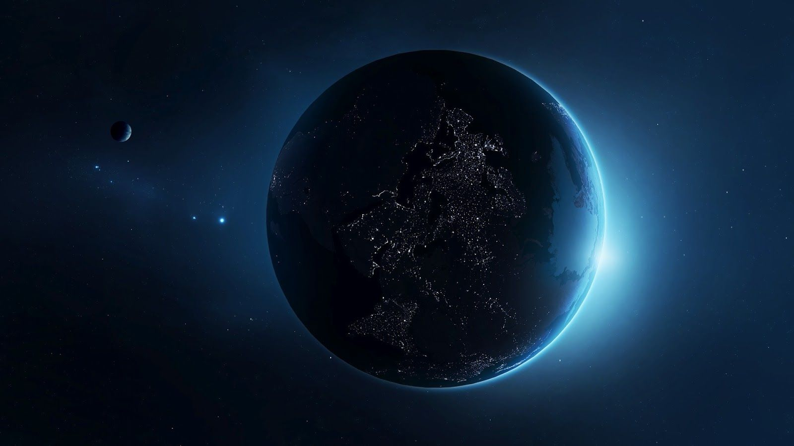 Planet Earth From Space At Night High Resolution Widescreen With