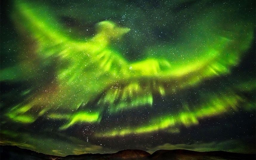 So cool. Aurora Borealis looking a lot like a phoenix flying over over Iceland. Photo credit to Hallgrimur P. Helgason/Caters