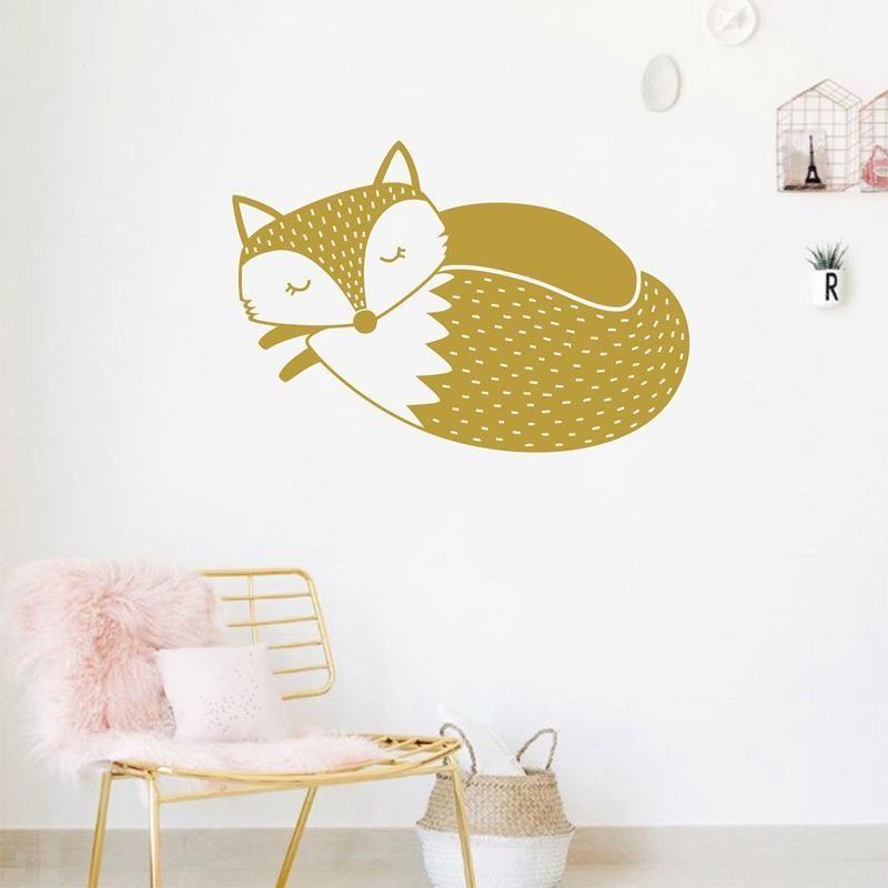 Cute Woodland Fox Wall Decal , Sleepy Fox Wall Sticker For Kids Room ...