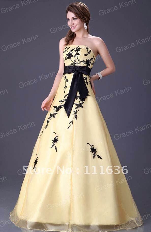 Black and Yellow Ball Gown | Dresses | Pinterest | Ball gowns, Gowns ...