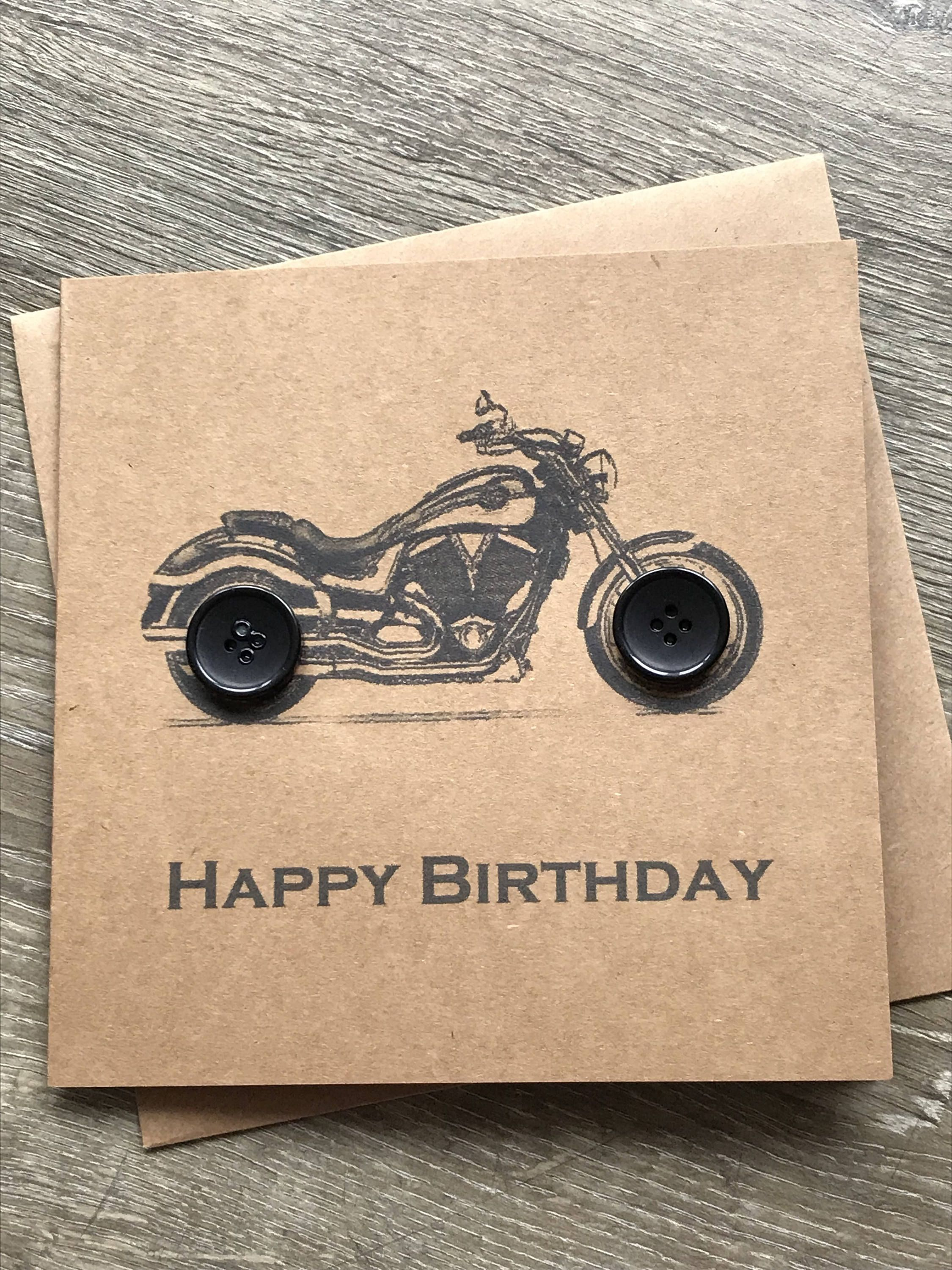 Motorbike Birthday Card Button Art Greetings Card Card For Dad