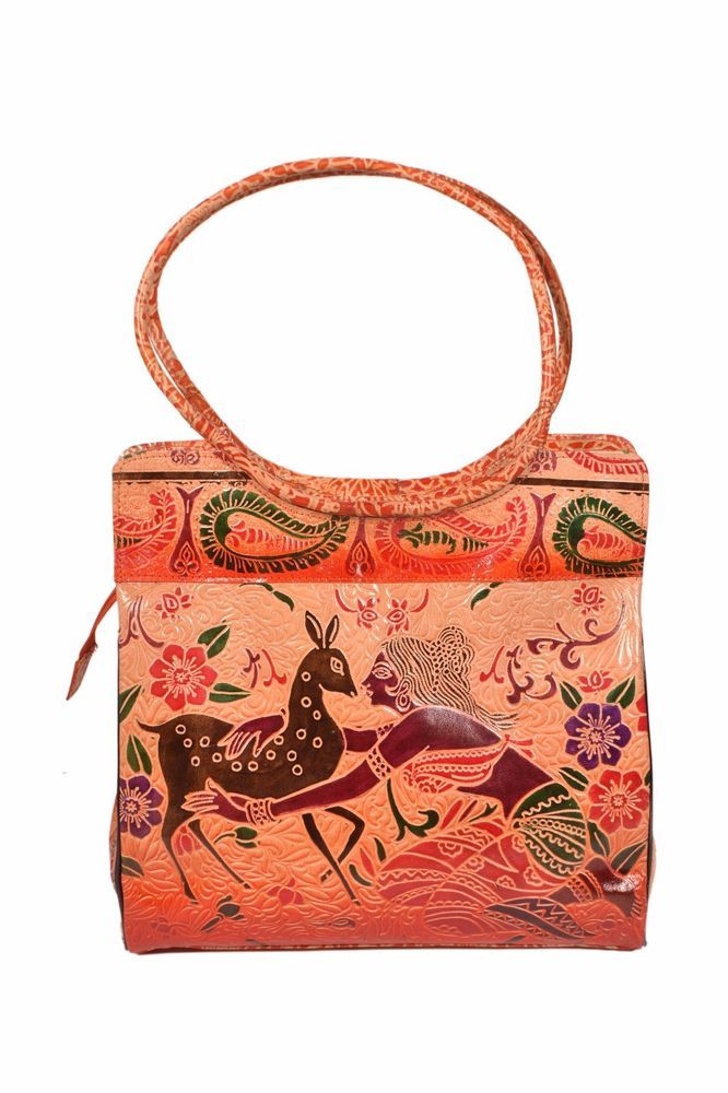 b880e09b7928  Handmade Vintage Style India Shantiniketan Embossed Leather Bag depicting  Village Lady with Deer