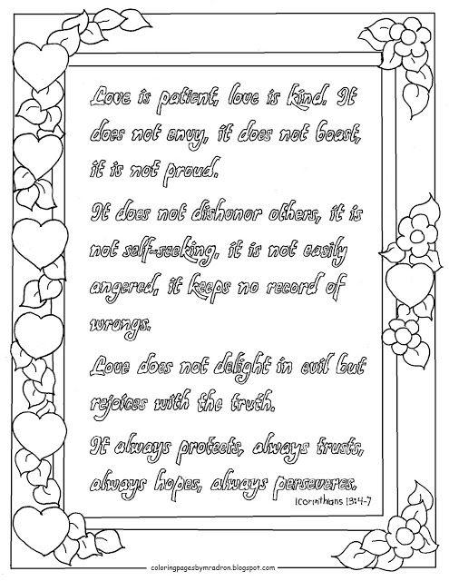 Printable 1 Corinthians 13 4 7 Coloring Page Bible Verse
