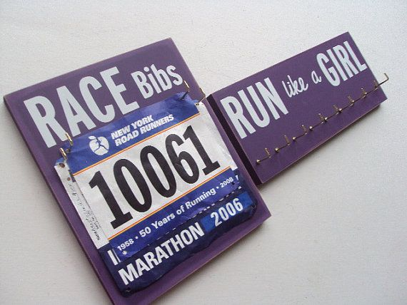 great idea for old race bibs and medals!