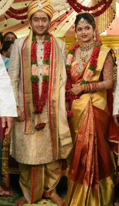 Gold Veshti Indian Groom Wear Couple Wedding Dress Groom Wedding Attire