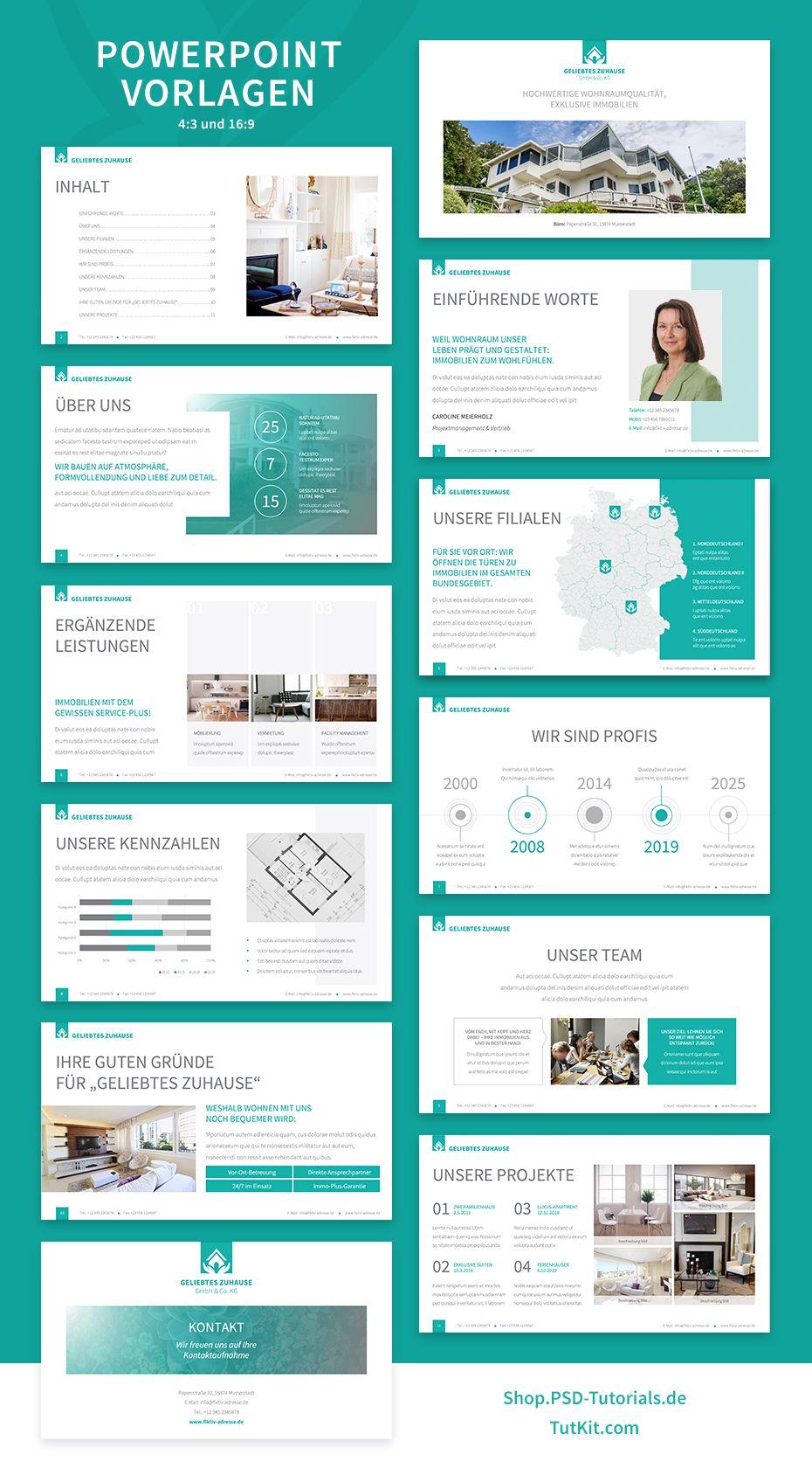 Elegantes Corporate Design Fur Immobilienfirmen Und Architekturburos Corporate Design Powerpoint Prasentation Power Point
