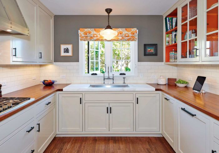 White Cabinets With Black Hardware Wood Countertops White Subway Tile Backsplash And Grey Walls Kitchen Remodel Small Kitchen Design Small Home Kitchens