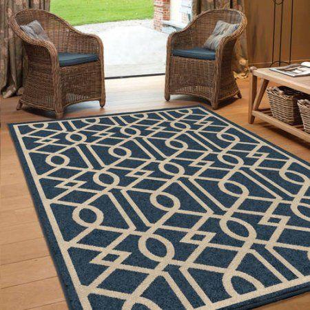 Orian Rugs Indoor/Outdoor Trellis Shafer Blue Area Rug