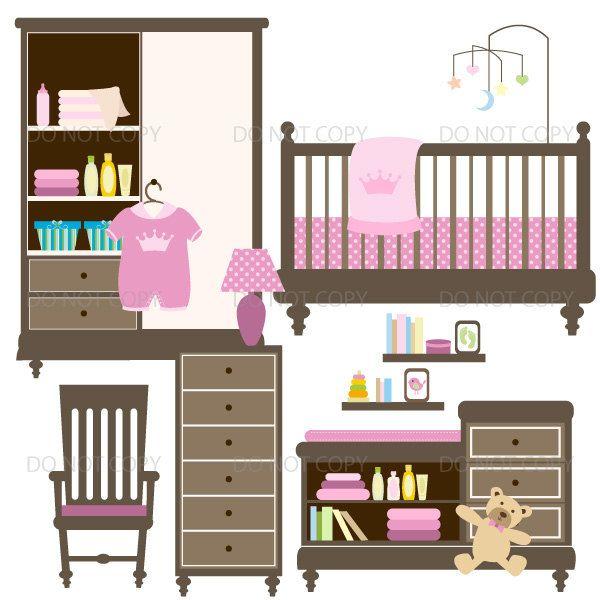 Baby nursery clipart, baby girl clipart, baby room ...