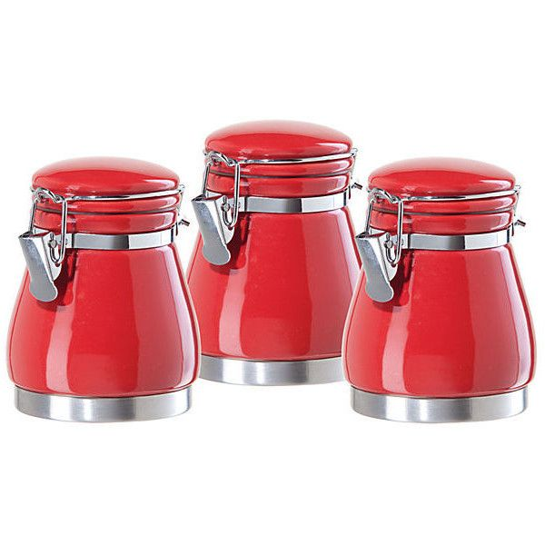 3 Pc Mini Canister Set, Red ($9) ❤ Liked On Polyvore Featuring