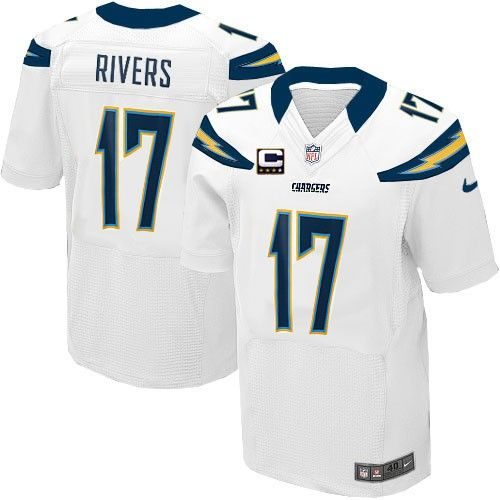 (Elite Nike Men s Philip Rivers White C Patch Jersey) San Diego Chargers  Road  17 NFL Easy Returns. bf068cdf5